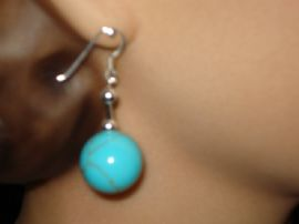 Faux Turquoise Ball Earrings on Silver Earwires